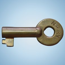 Vintage Northern Pacific Railway Railroad Brass Switch Key NPRY