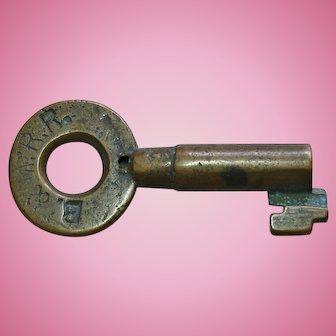 Antique Boston & Maine Railraod Brass Tapered Barrel Switch Key by Sherburne