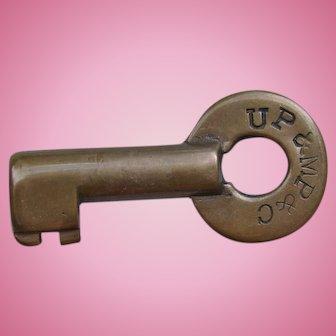 Vintage Union Pacific Railroad Brass UP&MP&C Switch Key
