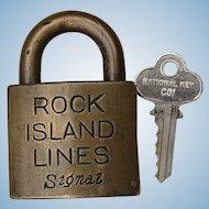 Large Rock Island Lines Signal Lock with Key CRI&P Railroad Brass Padlock