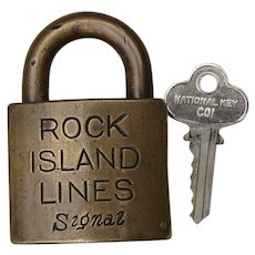 Large Rock Island Lines Signal Lock with Key CRI&P Railroad Brass Padlock