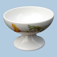 Scarce California Poppy Railroad China Pedestal Sherbet Dish: Santa Fe Railway or Fred Harvey