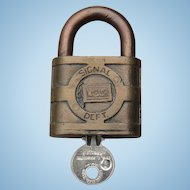 """Vintage Wabash Railroad Brass """"Follow the Flag"""" Logo Signal Dept. Lock by Yale w/ Key"""
