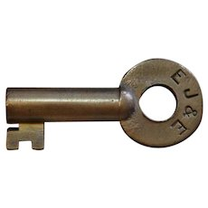Vintage Elgin, Joliet & Eastern Railway Railroad Brass Key