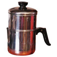 Scarce 1940s Four-Cup Revere Ware Copper Clad Stainless Steel Drip-O-Lator Cofffee Pot