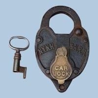 New York, New Haven & Hartford Railroad Iron Car Lock and Key Set