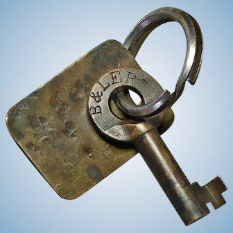 Vintage B&LERR Railroad Brass Switch Key Bessemer & Lake Erie Railway