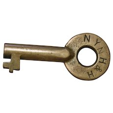 Vintage New York New Haven & Hartford Railroad Brass Switch Key NYNH&HRR