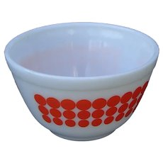 Vintage 1960s Pyrex Dots Smallest 401 Nesting Mixing Bowl in Orange Polka Dots