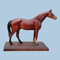 Authentic Original Hubley Cast Iron Horse Figurine Desk Art on Wooden Base