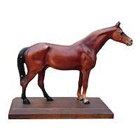 Vintage All Original Hubley Cast Iron Horse Paperweight on Wooden Base