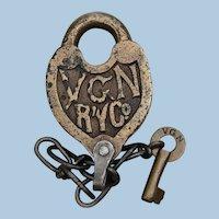 1930s Fancy Castback Virginian Railway Lock and Key Set Railroad Brass