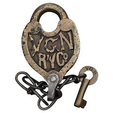 1930s Fancy Castback Virginian Railway Lock and Key Set Railroad Brass