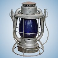 Vintage Maine Central Railroad Dietz Vesta Lantern with Cobalt Blue Globe