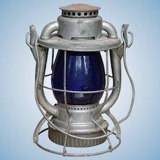 Vintage Maine Central Railroad Dietz Vesta Lantern with Cobalt Blue Globe