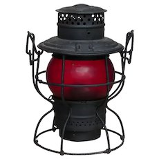 Central Vermont Railway Adlake No. 250 Kero Railroad Lantern with CVRY Red Etched Globe