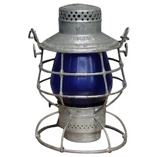 Early 1900s Maine Central Railroad Tall Blue Globe Lantern MCRR