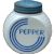 "Vintage Anchor Hocking Milkglass Vitrock ""Blue Circle"" Pepper Shaker w Original Lid"