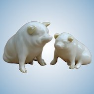 Two Vintage Beleek China Pigs from Ireland Oink!
