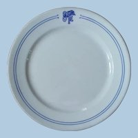 "Early 1900s Santa Fe Railroad China ""Bleeding Blue"" Large Dinner Plate"