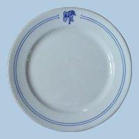 "Early 1900s Santa Fe Railroad China ""Bleeding Blue"" Large Dinner Plate"