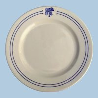Vintage Santa Fe Railroad China Bleeding Blue Dinner Plate