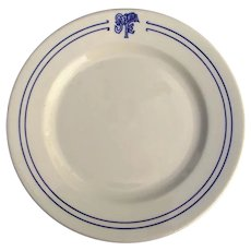 Vintage Santa Fe Railroad China Bleeding Blue Dinner Plate