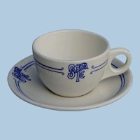 "Superb Santa Fe Railroad China Cup and Saucer Set ""Bleeding Blue"" Pattern"