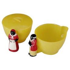 Mid-Century Aunt Jemima & Uncle Mose Sugar Bowl & Cream Pitcher Set 1950s Plastic