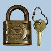 Wabash Railroad Brass Follow the Flag Signal Lock and Key