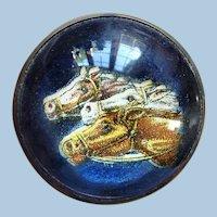 Large Vintage Die-Cut 3 Horses Bridle Rosette Pin