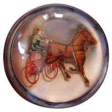 "Victorian Era ""Floating"" Die Cut Horse and Sulky Bridle Rosette Converted to Pin"
