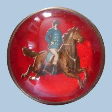 Victorian Die-Cut Gentleman Rider on Horse Bridle Rosette Pin on Intense Crimson Red Background