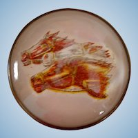Vintage Three Race Horses Die Cut Bridle Rosette Brooch Pin