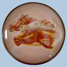 Vintage Three Race Horses Die Cut Bridle Rosette Brooch Pin