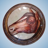 Vintage Die-Cut Horse Head Bridle Rosette Brooch Pin