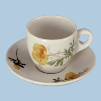 Vintage Santa Fe Fred Harvey California Poppy Railroad China Demitasse Cup and Saucer Set