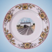 "Vintage Superb Illinois Central Railroad ""Panama Limited"" China Service Plate"