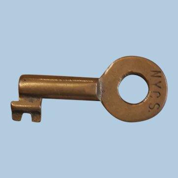 New York Central Railroad Brass Tool House Key by Bohannan