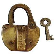 Vintage Union Stockyards of Omaha Railroad Brass Lock & Key Set