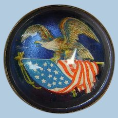 Incredible Victorian Die Cut Bridle Rosette Brooch Pin : American Eagle With Flag