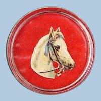 Pretty Gray Horse Brooch Pin a Bridle Rosette Conversion