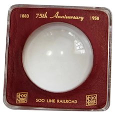 NICE 1958 Soo Line Railroad 75th Anniversary Glass Paperweight