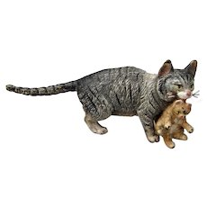 Endearing Austrian Cold Painted Bronze Mother Cat Carrying Kitten Miniature FIgurine