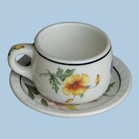 Southern Pacific Railroad China Mug Style Prairie Mountain Wildflowers Cup and RRBS Saucer Set