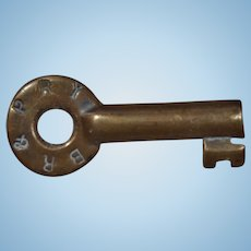 Antique 1800s BR&PRy Buffalo Rochester & Pittsburgh Railway Railroad Brass Switch Key