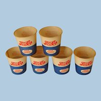 "SIX ""Free Sample"" Wax Paper Pepsi Cola Drinking Cups, Circa 1940"