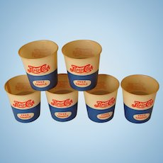 "SIX ""Free Sample"" Wax Paper Pepsi Cola Drinking Cups, Circa 1940"