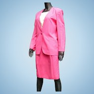 Vintage 1985 Fabulous Hot Pink Designer Christian Dior Lady's Suit