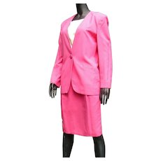 Vintage 1980s Fabulous Hot !! Pink Designer Christian Dior Misses' Suit
